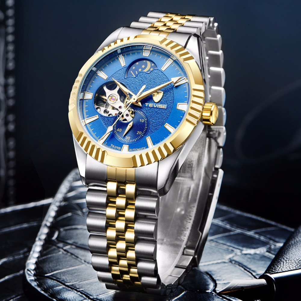 TEVISE Fashion Moon Phase Automatic Self-Wind Watches Stainless Steel Luxury Gold Black Watch Men Mechanical T629B with tool tevise men automatic self wind gola stainless steel watches luxury 12 symbolic animals dial mechanical date wristwatches9055g