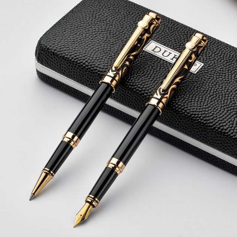 2pcs/lot Duke Luxury Gold 0.5MM Fountain Pen + 0.7mm Roller Ball Pen for Lovers Pens Christmas Gift Free Shipping roller ball pen or fountain pens burgundy j601 signature pens the best gifts wholesale 2 pcs lot free shipping insured