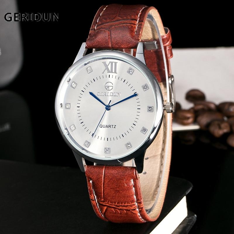 GERIDUN Herrenuhr Mode Kunstleder Blue Ray Glas Quarz Männer - Herrenuhren - Foto 1