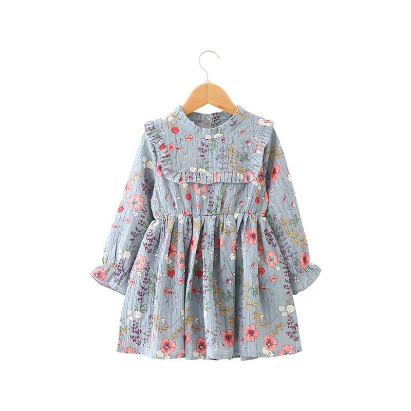 9217b935f Crianças Vestidos para Meninas de Manga Comprida Vestido Floral Vestido de  Princesa Da Moda Meninas Veste a Roupa das Crianças 2-6 t azul