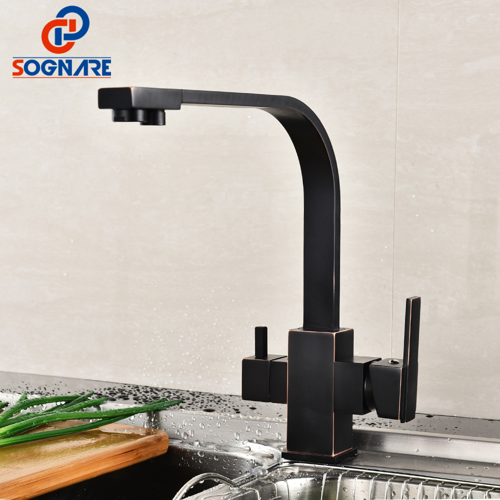 SOGNARE Drinking Water Filter Faucet 360 Degree Swivel Kitchen Sink Tap Antique Black Square Kitchen Faucet With Water Purifier