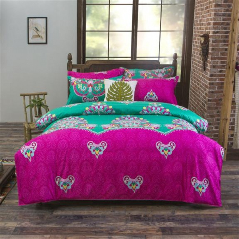 National Boho Chic Bedding Set Flowers (Duvet Cover+Bed Sheet+Pillowcase)  Bedclothes Double Twin Queen Size Green U0026 Fuschia In Bedding Sets From Home  ...