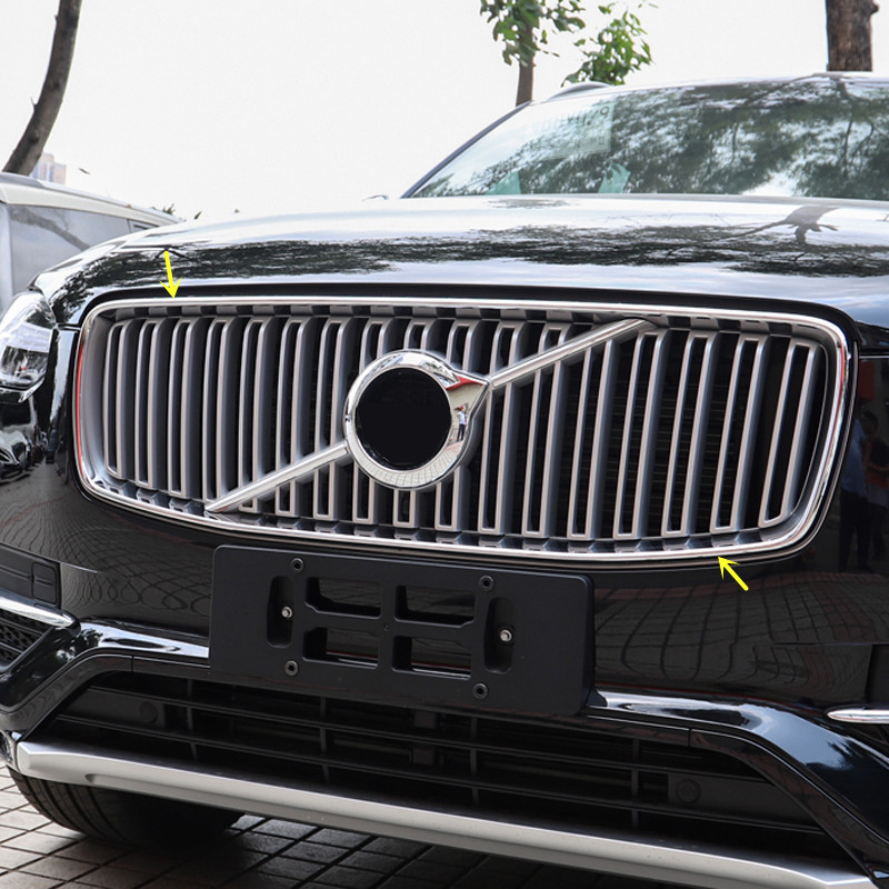 Front Center Grille Cover Frame Trim 2pcs ABS Matte For Volvo XC90 2nd Gen 2015-2018 (NOT Fit For Horizontal Stripe Grille) fiio clear back cover for x3 2nd gen c03