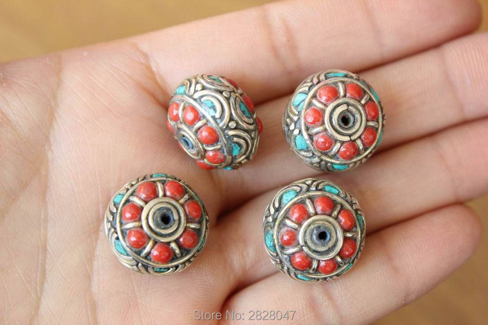 Bd128 Nepal Handmade Natural Stone Loose Beads Tibetan Silver Metal 18mm*13mm Wheel Shape Diy Beads For Jewelry Making 4 Lot