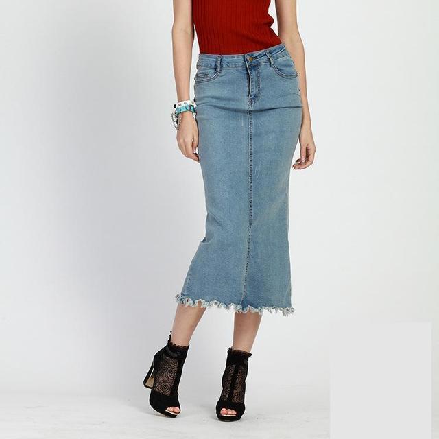 60a0121beed9 Designer Denim Skirt 2017 Summer England Style Mid-calf Slim Female Pencil  Skirt Jeans Skirt High Waisted Maxi Skirts Women