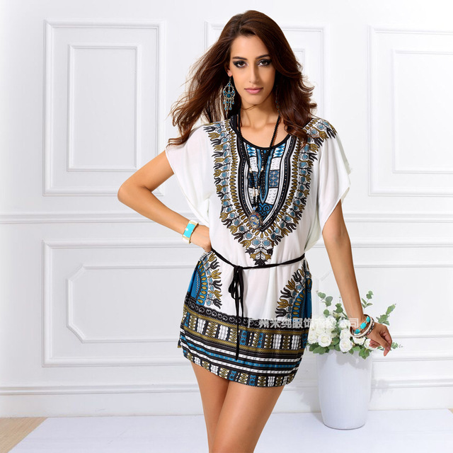 e1335502e37 2016 African Dress New Summer Fashion Traditional Dresses For Women Female  African Clothing Dashiki Print Big Size Tunic Shirt-in Dresses from Women s  ...
