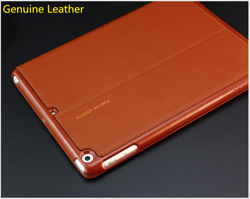 Nice real genuine leather case for apple ipad mini 1 2 3 cover stand style flip thin slim magnetic protective smart case skin