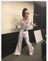 Элвис Пресли Для мужчин Хэллоуин Косплэй костюм Made By Hand Высокое качество клиент сделал Косплэй певица бальных танцев костюм комплект