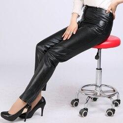 2019 новые женские штаны из козьей кожи, брюки из натуральной кожи для офисных леди, облегающие брюки размера плюс 4XL, черные брюки-карандаш из ...