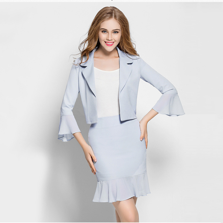 Plus Size Blazer Women Office Skirt Suit Set Blue Business Skirt Ladies Suits Summer Work Tailleur Jupe Two Piece Set 50N075
