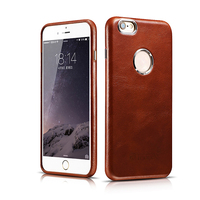 ICARER Business Style Retro Genuine Real Leather Hollow Logo Full Cover Back Case For For iPhone 6 6s Plus Case 5.5''