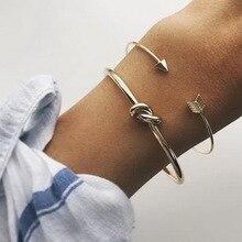 Bohemian 2Pcs/set Opening Bracelet Set Retro Fashion Minimalist Arrow Knotted Bangle Women Party Jewelry Gifts Accessories