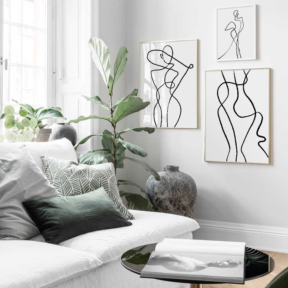 Geometric Curve Wall Art Canvas Painting Black White Poster Figure Painting  Posters And Prints Wall Pictures For Bedroom Decor