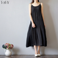 TaFiY 2017 Vestidos 2017 Women Summer Dress Solid Silk Cotton Slips Sleeveless Dresses O neck Casual Strapless Camisole