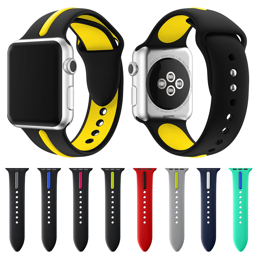 sport silicone strap band for apple watch 42mm 38mm Double color rubber wrist bracelet watch strap for iwatch 3 2 1 replacement