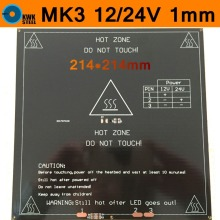 MK3 Heated Bed 12V 24V Dual Power Heatbed Aluminum Plate HotBed MK2B Updated 3D Printer Parts RepRap 214*214mm 1mm Thick PCB RT 3d printer heated set heatbed mk2a aluminium bed mount plate borosilicate glass plate for reprap prusa mendel