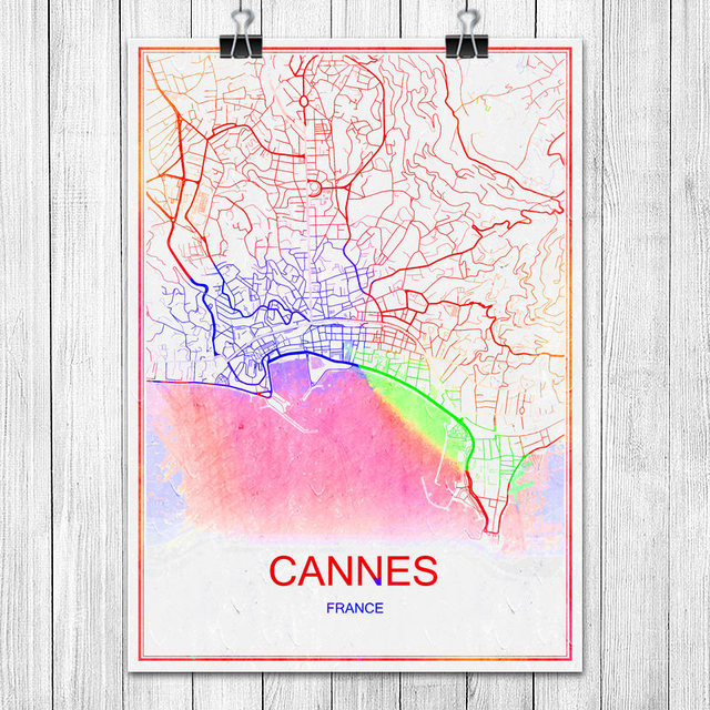 Map Of France To Print.Us 1 99 Cannes France Modern Colorful World City Map Print Poster Abstract Coated Paper Bar Pub Living Room Home Decoration Wall Sticker In Wall