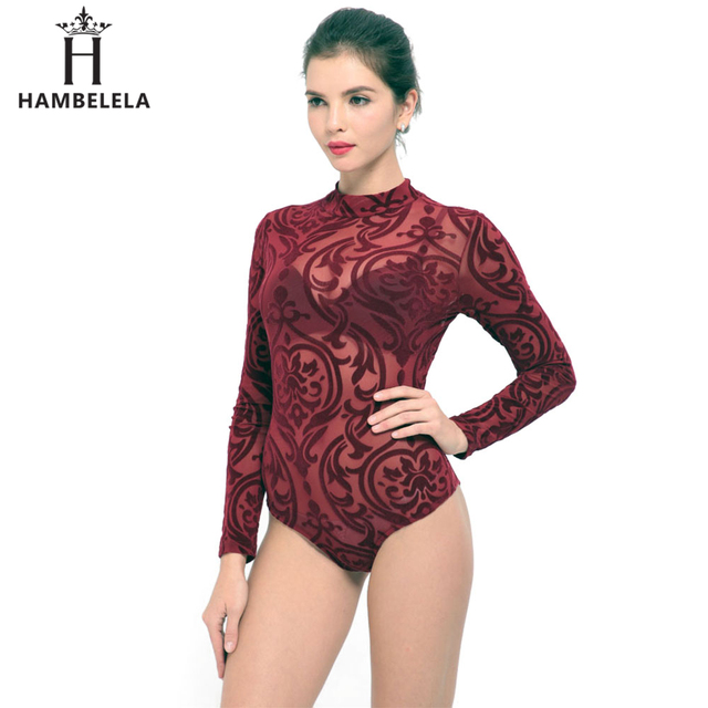 Hambelela Blue Red Women Playsuit Combinaison Femme Sexy Transparent  Overall Bodice Mesh Long Sleeve One Piece Women Top Rompers 41b1a4e0cde8