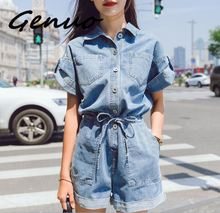 Genuo New 2019 summer new fashion turn down collar short sleeve pure color women casual slim jumpsuits with belt