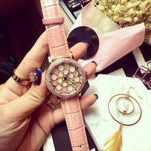 5 Colors ! Lady Women's Watch Shell Rotate Wathes Hours Fashion Dress Leather Bracelet Girl Gift Birthday Top Quality Watch
