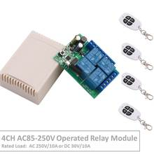 цена на Remote Control 433Mhz 85~250V 4CH rf Switch Relay Receiver and Transmitter for Remote Garage Control and Electric curtain Switch