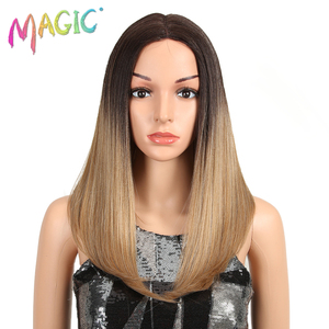 Image 2 - Peluca con malla frontal para mujeres negras cabello liso degradado de Color mágico de 18 pulgadas, pelucas africanas y americanas, pelo sintético resistente al calor