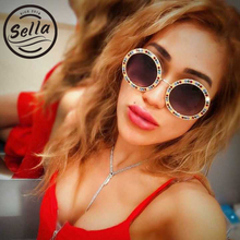 Sella 2018 Fashion Round Oversized Crystal Decoration Gradient Lens Sunglasses Popular Women Tint Lens Alloy Frame Sun Glasses