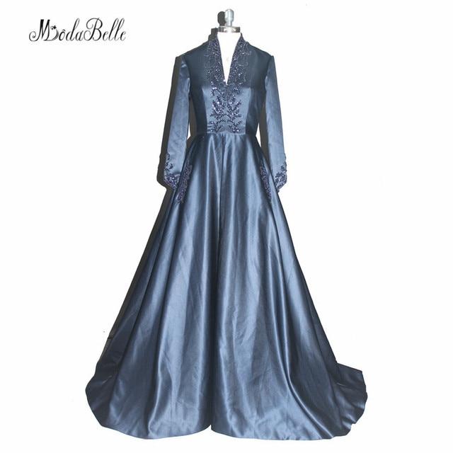 Gothic Elegant Long Sleeve Evening Dresses Dubai Abaya Navy Blue