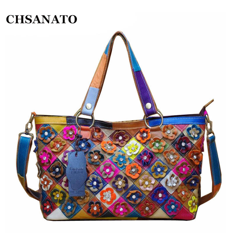 CHSANATO Genuine Leather Lady Handbags Patchwork Flower Pattern Fashion Shoulder Crossbody Bags Casual Large Totes