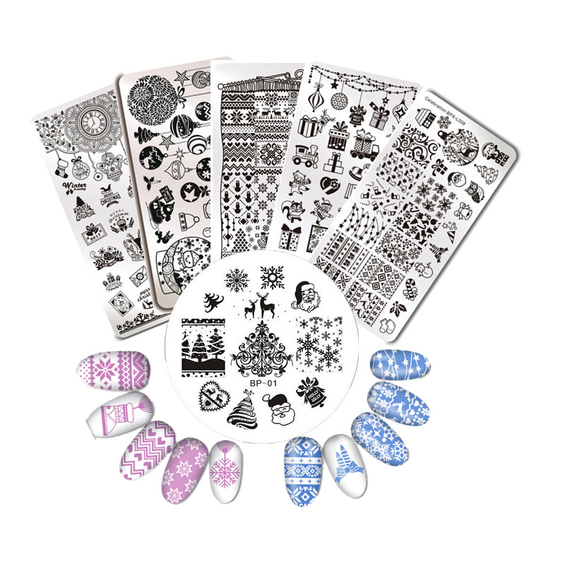 Born Pretty Nail Art Stamping Plates Xmas Christmas Deer Fireworks Nails Stamp Image Template Manicure Stencils Bp82 Comfortable Feel Nails Art & Tools