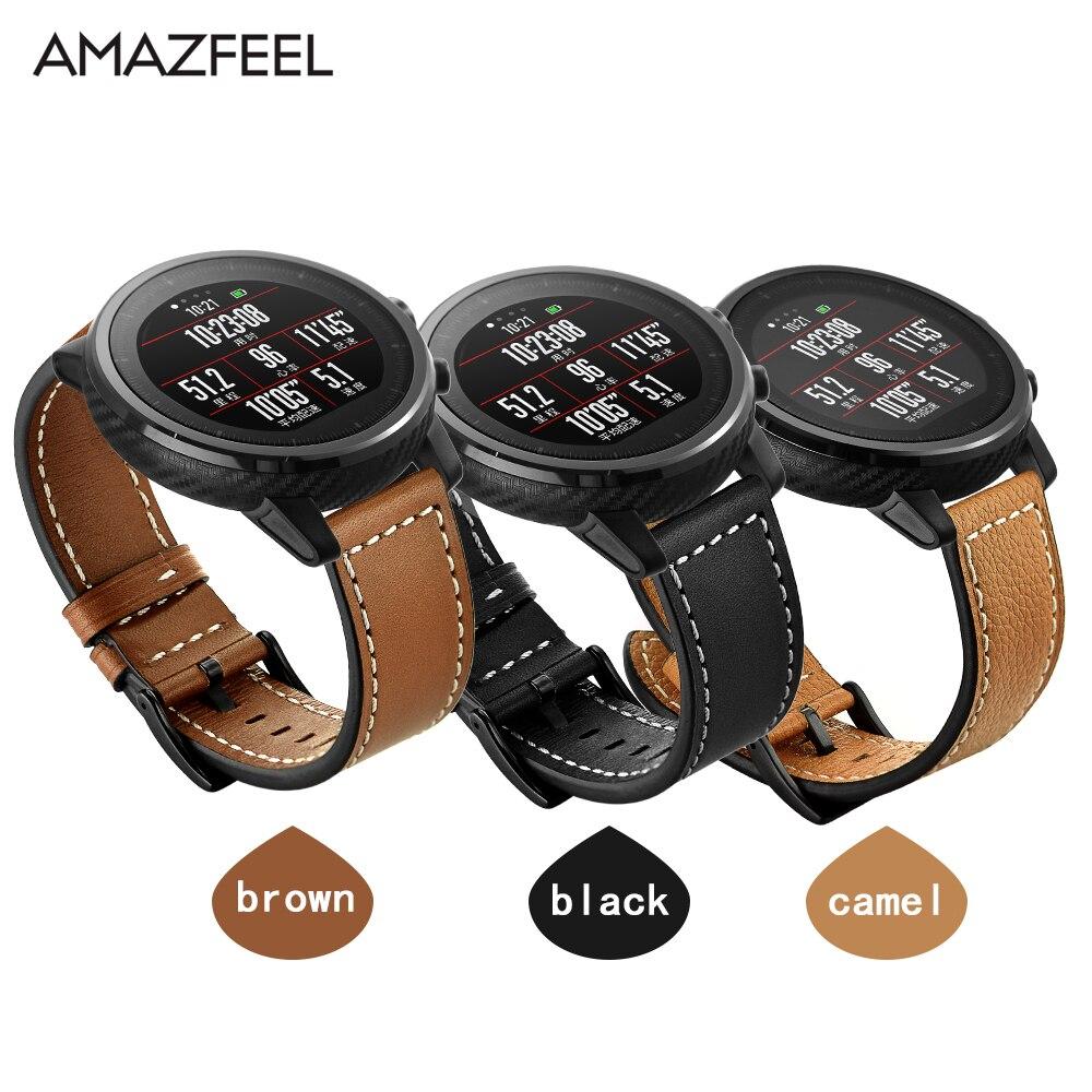 Boutique en ligne 855ae da7b4 Correa de cuero para Xiaomi Huami Amazfit PACE Stratos reloj inteligente  pulsera para Xiaomi Amazfit Correa correa de cuero genuino 22mm
