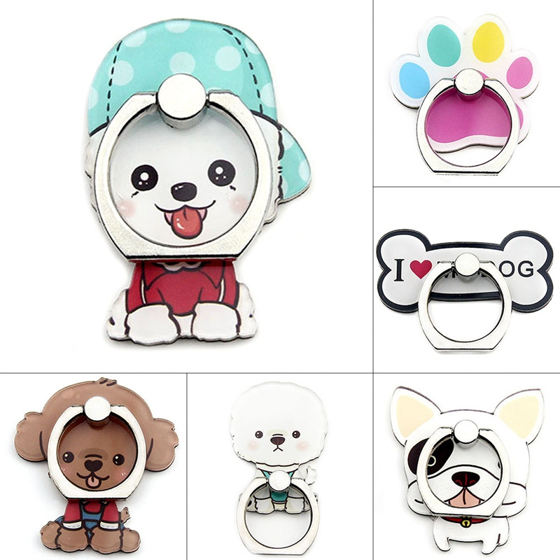 2019 New 360 Degree Rotating Cartoon Cute Dog Bone Acrylic Mobile Phone Ring Bracket For IPhone6s 7 8p Xs Max Xr
