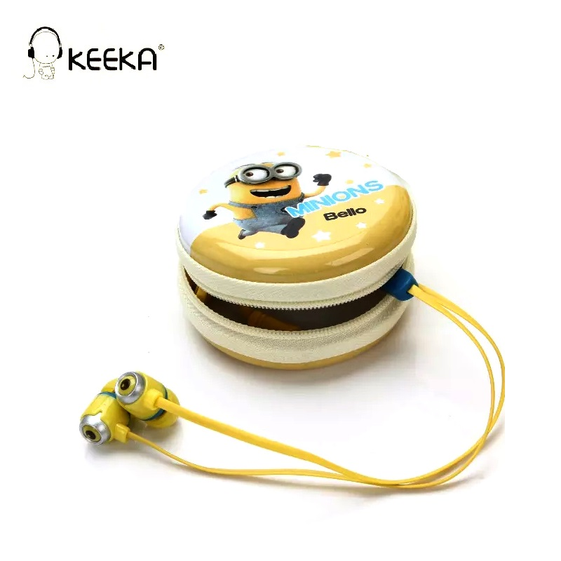 KEEKA Minion Wired Earphone Cute Candy Color Yellow lovely earphones Metal Hard Case Storage Box in-ear With Mic Cartoon Headset keeka mic 103 stylish universal 3 5mm jack wired in ear headset w microphone red blueish green