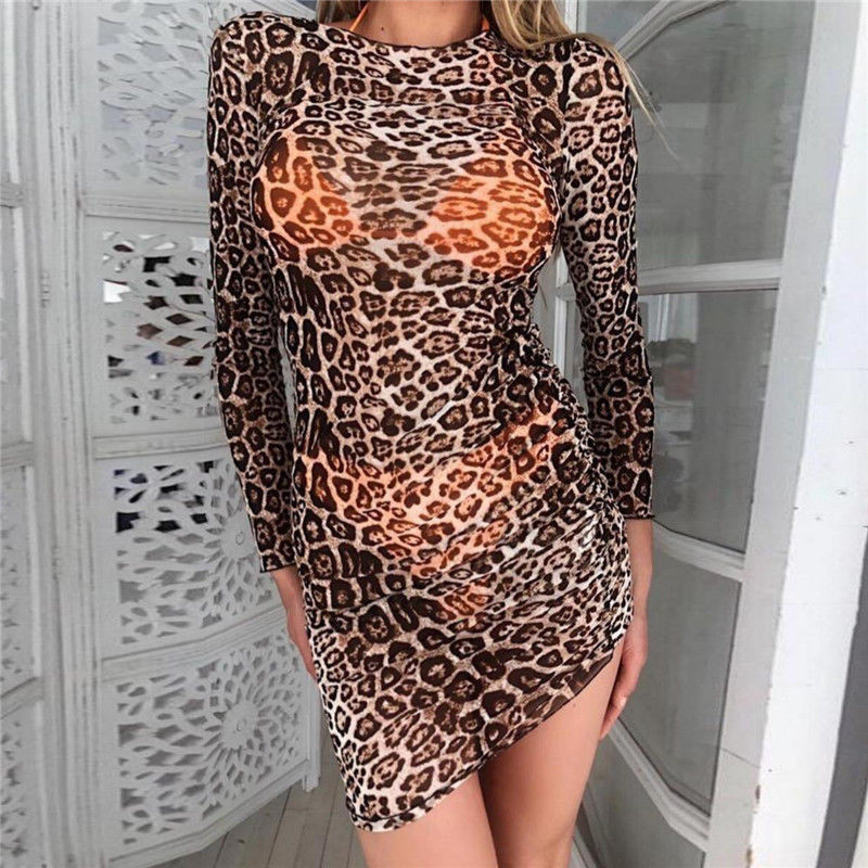 2018 New Hot Women Leopard Print Sexy Transparent Sheer Long Sleeve Bodycon  Night Club Mini Dress 4632ede66
