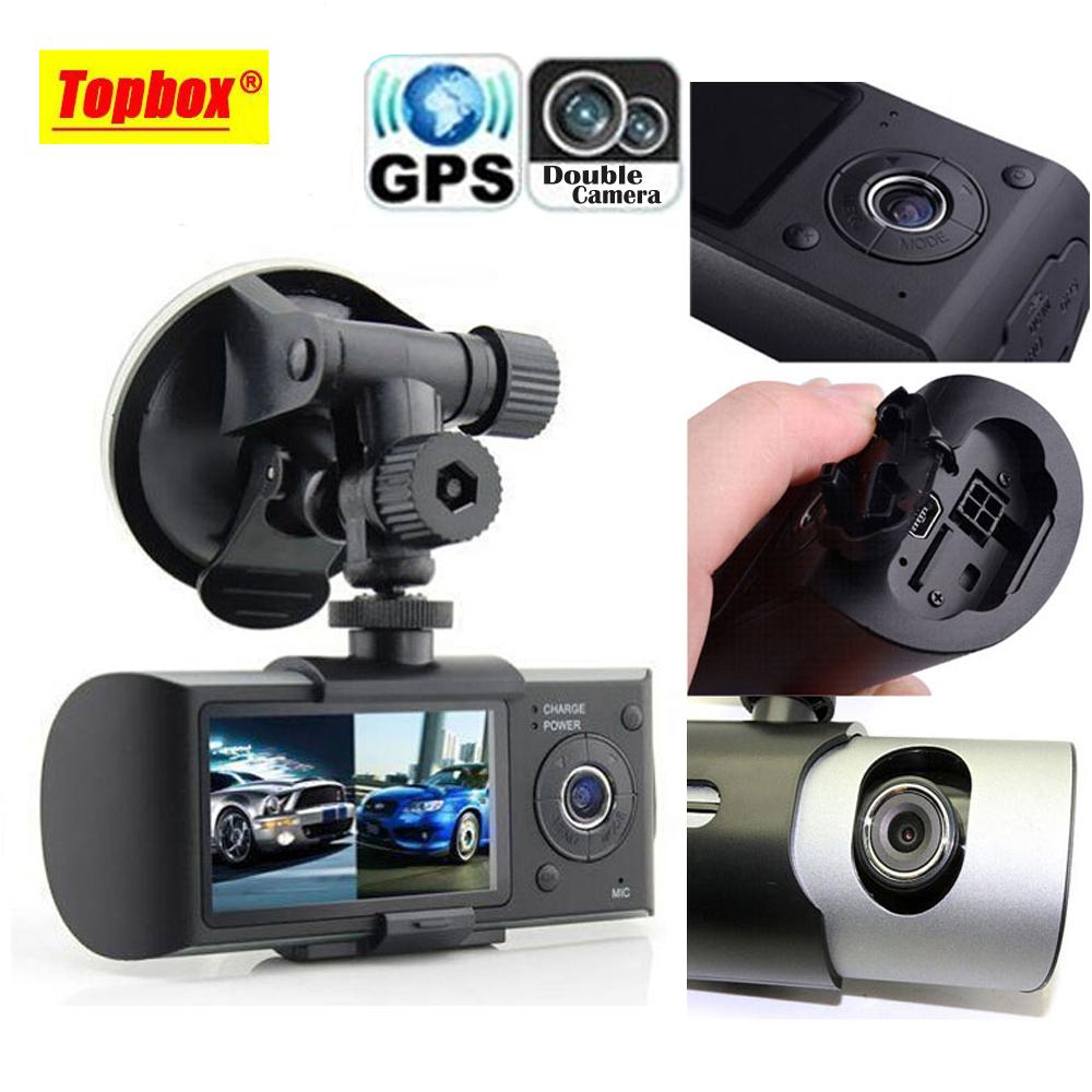 """Prix pour Double Caméra Voiture DVR R300 avec GPS et 3D G-sensor 2.7 """"TFT LCD X3000 Cam Vidéo Caméscope Enregistrement de Cycle Numérique Zoom"""