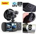"""Dual Camera R300 DVR Carro com GPS e 3D G-Sensor De 2.7 """"TFT LCD X3000 Cam Video Camcorder Zoom Digital de Gravação Ciclo"""