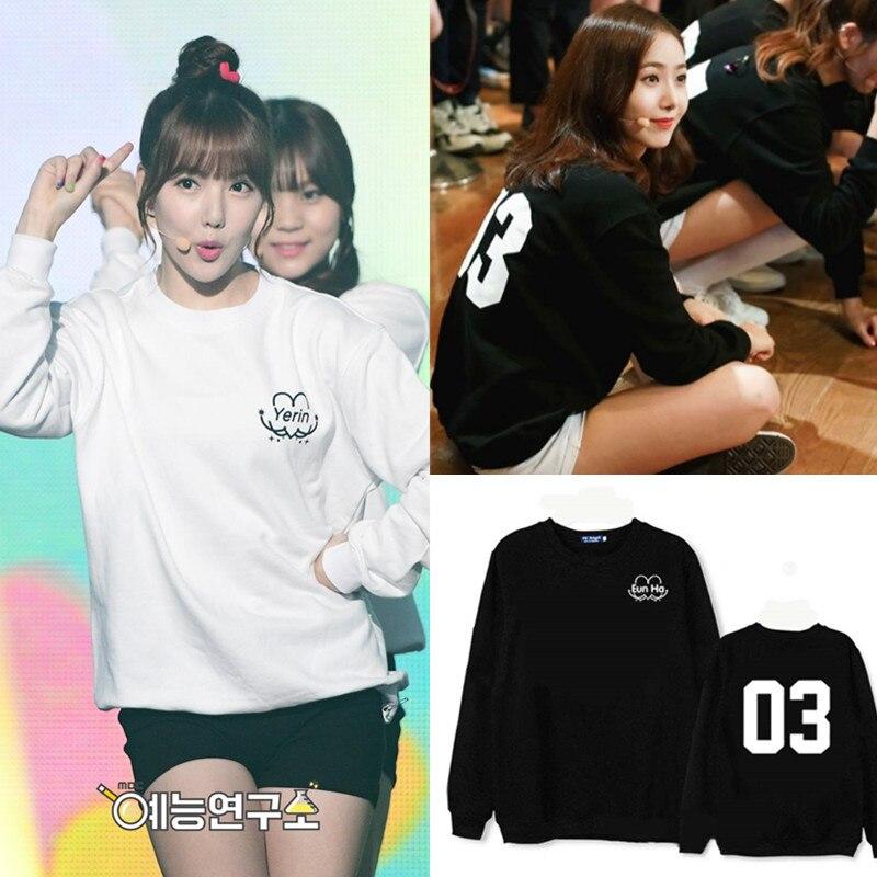 Women's Clothing Well-Educated K-pop Gfriend Album Lol Yan Zhijin Long-sleeved Bodywear Black And White New Sweatshirts Loose Hoodies