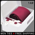 Regalo conjunto para Los Hombres de Negocios Formal lazo del color sólido Lazo de La Boda Fija Con el paquete de la caja de Envío gratis