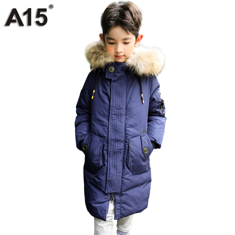 A15 Kids Down Coat 2017 Long Down Jacket for Boys European Children's Fur Hooded Cold Winter Jackets Coat Teenage Girls Clothes a15 girls down jacket 2017 new cold winter thick fur hooded long parkas big girl down jakcet coat teens outerwear overcoat 12 14