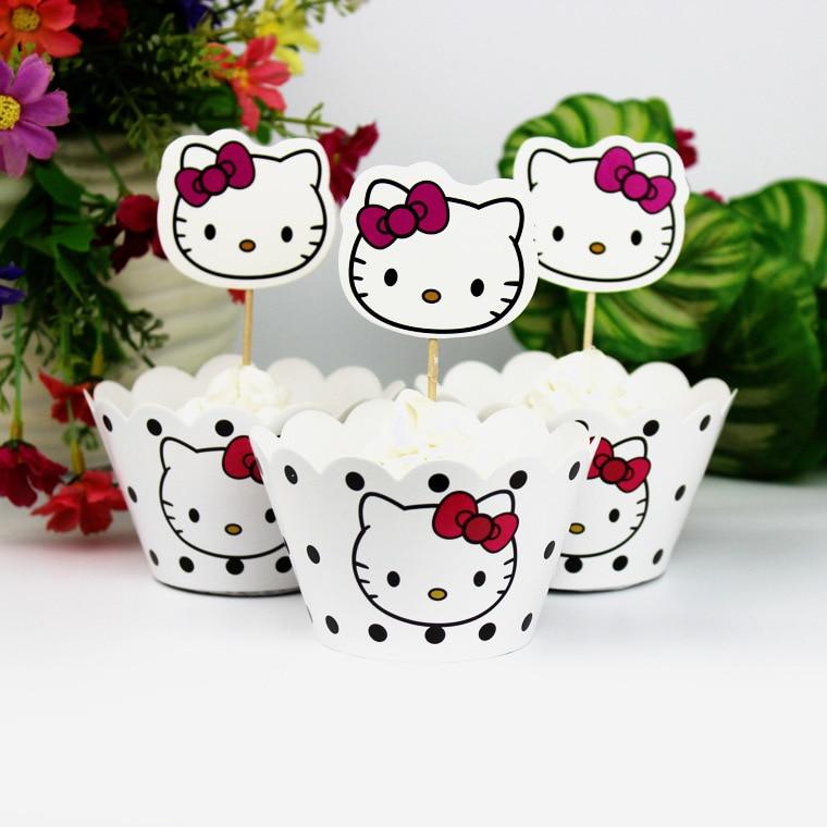 24pcs Cartoon Fashion Kawaii Creative Hello Kitty kids party