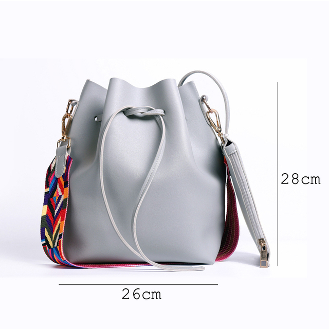 PU Leather Shoulder Bucket Bag with Colorful Strap