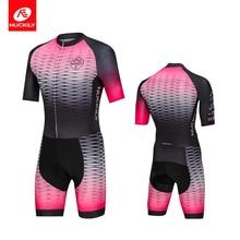 NUCKILY Triathlon Suit Men Bike Uniform Jersey Jumpsuit Cycling Sets Short Sleeve MQ005