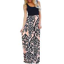 4524642b7d9 (Ship from US) Summer Women Long Boho Dress Vintage Totem Printing Maxi  Beach Sundress Ladies Sleeveless Patchwork Casual Dresses Party  Ju