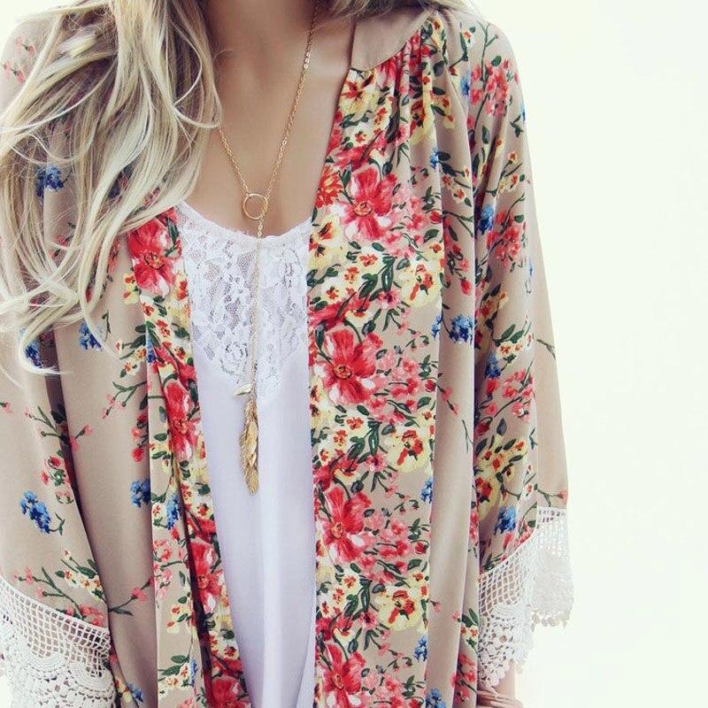 767872610c Vintage Women Blouses Loose Chiffon Kimono Cardigan Floral Print Lace Hem  Long Sleeve Beachwear Casual Boho Outerwear Top Khaki - free shipping  worldwide