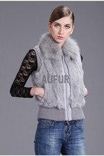 Hot Fashion Solid Real Rabbit Fur Vests with Fox Fur Collar Short Gilets Womens Spring Slimming Waistcoat Zipper AU00427