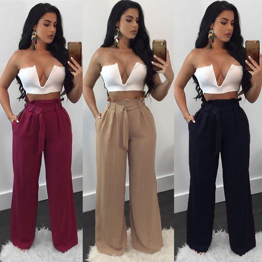 2019 Women Clothes High Waist Palazzo Denim Look Wide Leg Pants Long Loose Sashes Pants Culottes Trouser