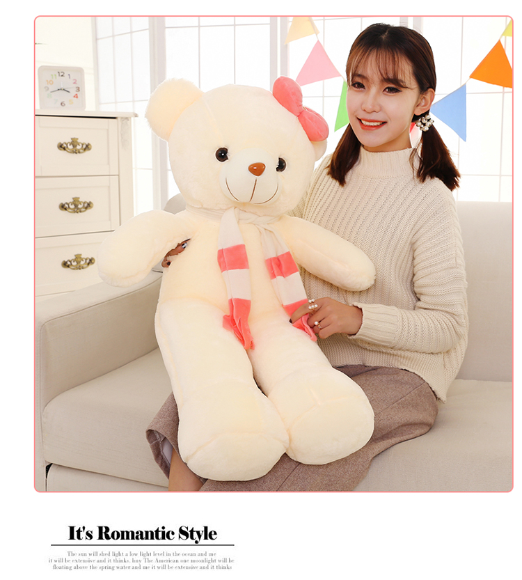 100% new large 85cm white teddy bear plush toy pink scarf bear doll soft throw pillow Christmas gift b1250 large 40cm pink hamtaro hamster plush toy soft throw pillow christmas gift w1890