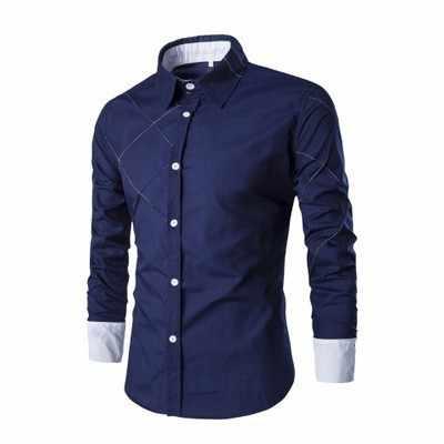 2018 новые мужские повседневные рубашки синий зеленый черный мужской длинный рукав облегающая в клетку рубашка camisa masculina 10 цветов M-3XL