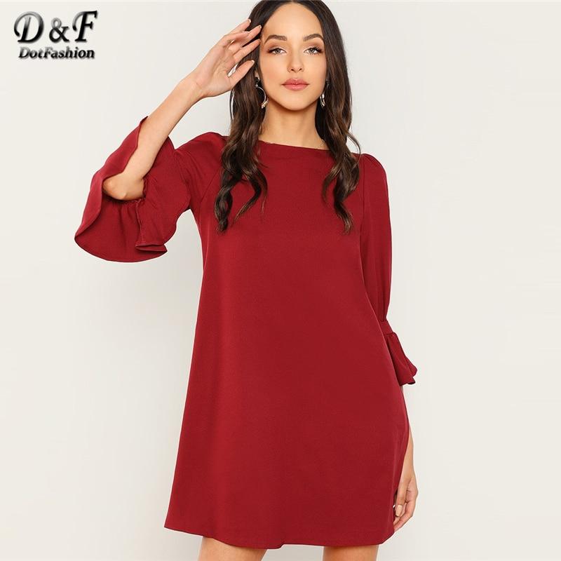 Dotfashion/бордовая туника с рукавами-колокольчиками, женская одежда 2019, высококачественное повседневное летнее прямое платье, рукав-Волан