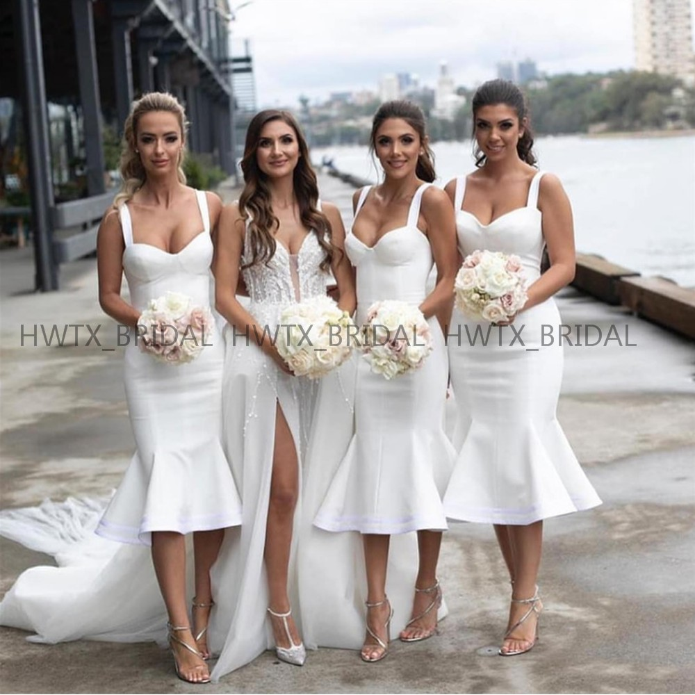 Us 68 73 21 Off White Tea Length Bridesmaid Dresses For Wedding Party Y Mermaid Satin Short 2019 Guest Dress Robe Mariage Femme In